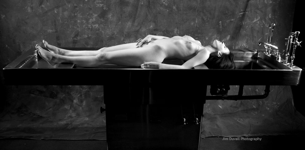 woman on autopsy table nude