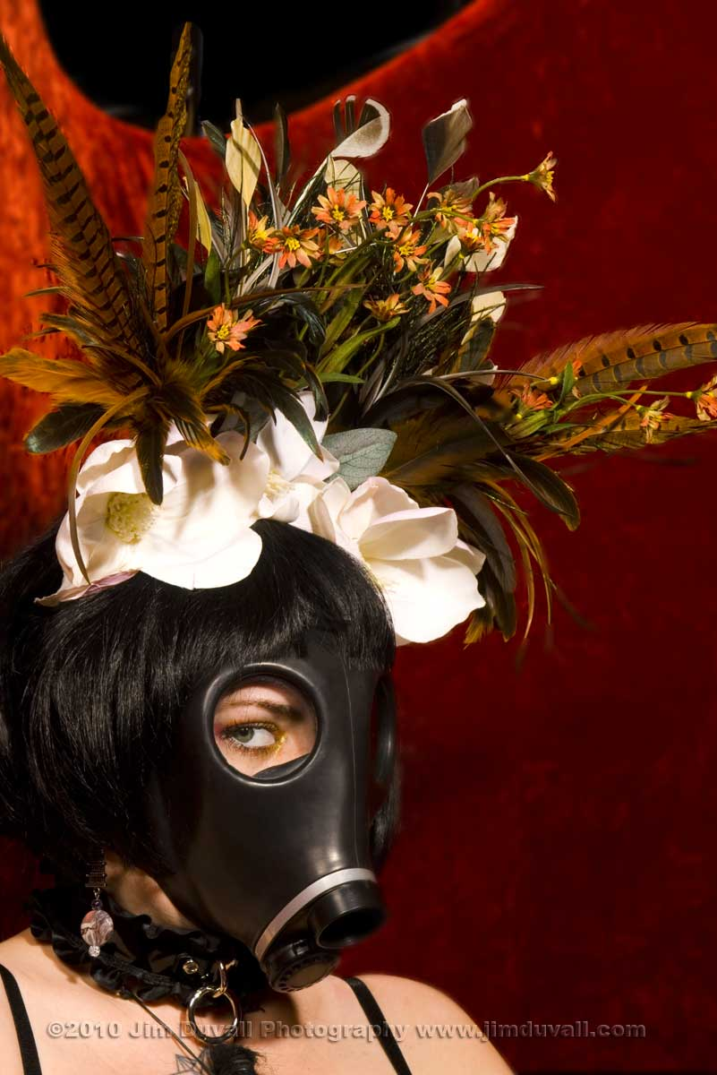 Woman in a flowered gas mask