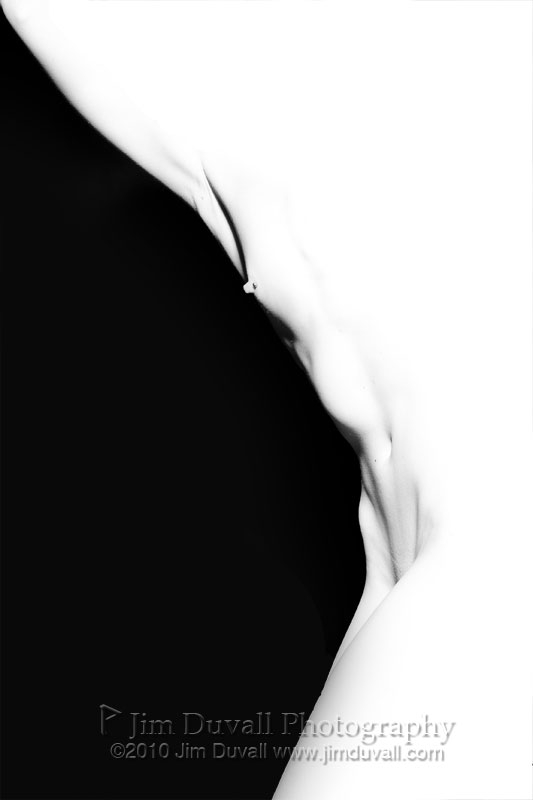 overexposed torso on a black background